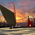 Norfolk Wherry and Windmill, Norfolk Broads by Dennis Melling