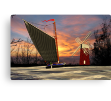 Norfolk Wherry and Windmill, Norfolk Broads - all products bar duvet Canvas Print