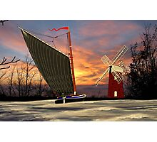 Norfolk Wherry and Windmill, Norfolk Broads Photographic Print
