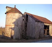 Wooden Barn and Silo Photographic Print