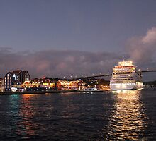 Willemstad Curacao - Queen Juliana Bridge at Night with Cruise Ship by stine1