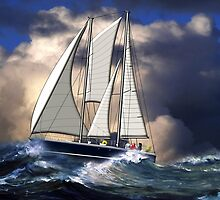 Pagan Staysail Schooner in Rough Seas by Dennis Melling