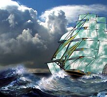 A Cloud of Sails in Rough Seas by Dennis Melling