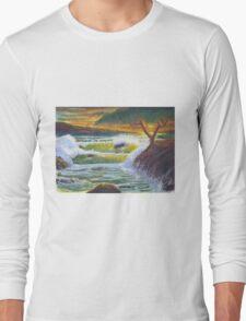 Waves Crashing at Sunset Long Sleeve T-Shirt