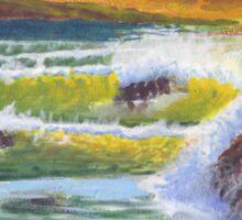 Waves Crashing at Sunset Sticker