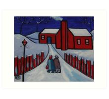 little red house snowscene from my original acrylic painting Art Print