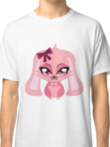 A cute little pink bunny with a bow Classic T-Shirt