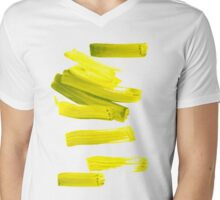 Painted Tee: Neon Green Gold Mens V-Neck T-Shirt