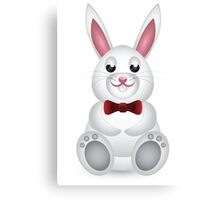 Cute white bunny with bow  Canvas Print