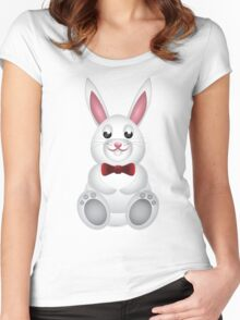 Cute white bunny with bow  Women's Fitted Scoop T-Shirt