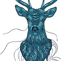Head of a deer in hand drawn style by AnnArtshock