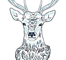 Head of a deer in hand drawn style 3 by AnnArtshock