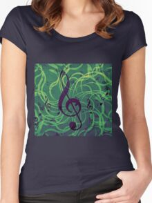 Music floral background Women's Fitted Scoop T-Shirt