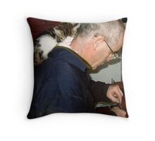 Jasper Cat  Loves Dad Most of All  Throw Pillow
