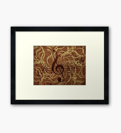 Music floral background 3 Framed Print