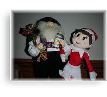 Elf and Santa Canvas Print