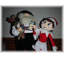 Elf and Santa Photographic Print