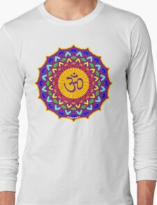 7th Chakra Mandala Yoga Om Long Sleeve T-Shirt