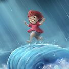 Ponyo Running on a Wave by lemomekeke
