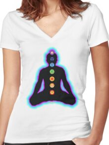 Chakras Meditation Women's Fitted V-Neck T-Shirt