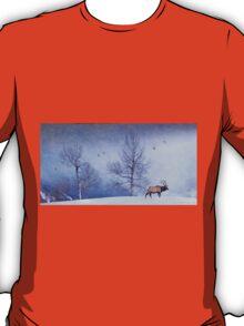 bull elk heading down valley T-Shirt