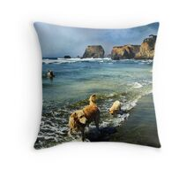 The First Swimming Lesson Throw Pillow