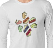 Easy As Pie - cute illustrations of pie on neutral tan  Long Sleeve T-Shirt