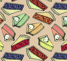 Easy As Pie - cute illustrations of pie on neutral tan  by Perrin Le Feuvre