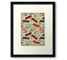 Easy As Pie - cute illustrations of pie on neutral tan  Framed Print