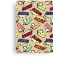 Easy As Pie - cute illustrations of pie on neutral tan  Canvas Print