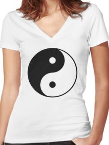 Yin Yang Symbol Women's Fitted V-Neck T-Shirt