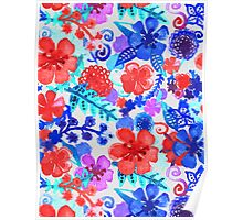 Fresh Watercolor Floral Pattern II Poster