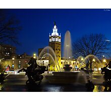 J.C. Nichols Fountain at Night Photographic Print