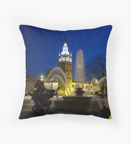 J.C. Nichols Fountain at Night Throw Pillow