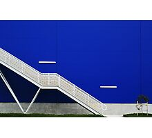 Blue Wall with Stairs Photographic Print