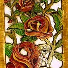 The Rose Garden #1(Painted Wood Carving)- by Robert Dye