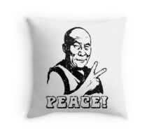 Dalai Lama Peace Sign T-Shirt Throw Pillow