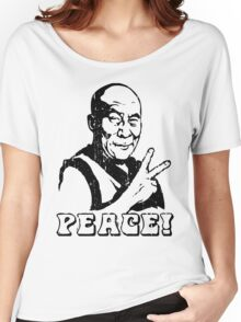 Dalai Lama Peace Sign T-Shirt Women's Relaxed Fit T-Shirt