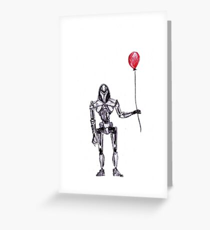 Battlestar Galactica Cylon Centurion with Red Balloon Greeting Card