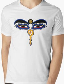 Buddha Eyes Symbol Mens V-Neck T-Shirt