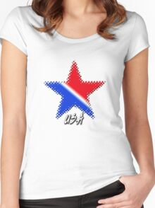 USA Flag Star Women's Fitted Scoop T-Shirt