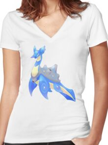 Mega Lapras Women's Fitted V-Neck T-Shirt