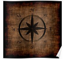 Nostalgic Old Compass Rose Design Poster