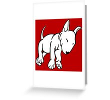 Tired English Bull Terrier Puppy Greeting Card