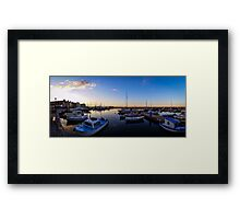 Old Harbor Chania Sunset with Boats Framed Print