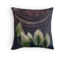 White Flowers for a Wooden Smile Throw Pillow
