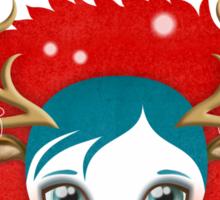 Xmas Deer Girl Sticker