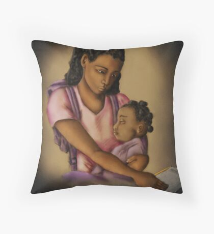 Young Mother (Collaboration W Shakira Rivers) Throw Pillow