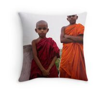 Two little monks Throw Pillow