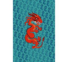 Red Dragon on Teal Photographic Print